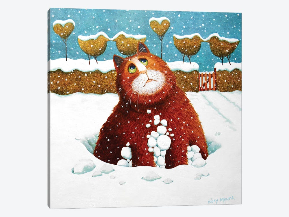 Albert In The Snow by Vicky Mount 1-piece Canvas Art