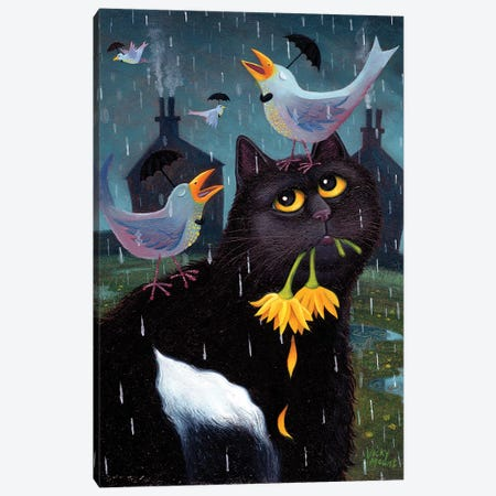 Singing In The Rain Canvas Print #VMN121} by Vicky Mount Canvas Art