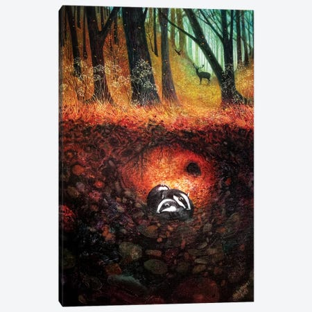Three Badgers Canvas Print #VMN143} by Vicky Mount Canvas Art