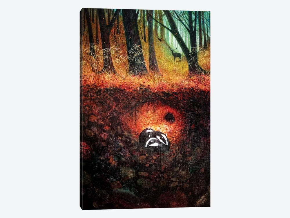 Three Badgers by Vicky Mount 1-piece Canvas Art