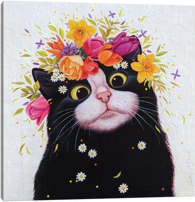 Spring Flowers Cat Canvas Art Print