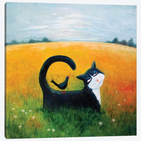 Blue Cat Canvas Print #VMN23} by Vicky Mount Canvas Art