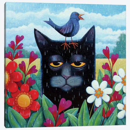 Blue Summer 3-Piece Canvas #VMN24} by Vicky Mount Art Print