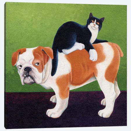 Bulldog And Cat Canvas Print #VMN25} by Vicky Mount Art Print