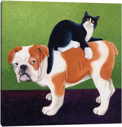 Bulldog And Cat Canvas Art Print