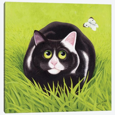 Cat & Cabbage White Canvas Print #VMN27} by Vicky Mount Canvas Print