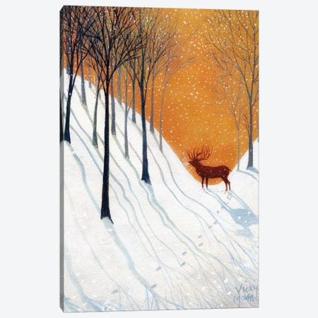 Deer In Winter Wood Canvas Print #VMN38} by Vicky Mount Canvas Art Print