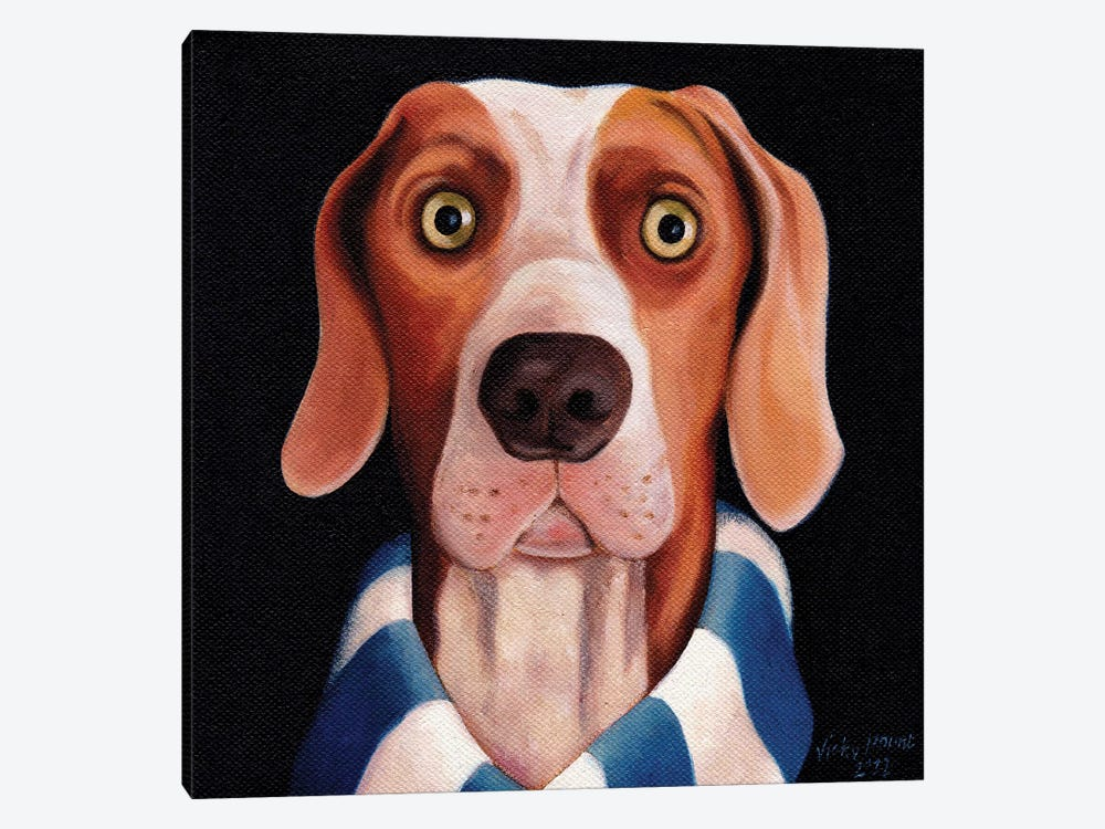 Dog Watching Football On Tv by Vicky Mount 1-piece Canvas Print