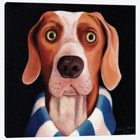 Dog Watching Football On Tv Canvas Print #VMN40} by Vicky Mount Canvas Artwork