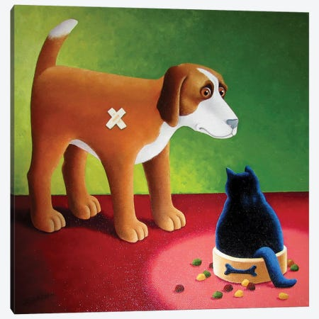 Dog's Dinner Canvas Print #VMN41} by Vicky Mount Canvas Art