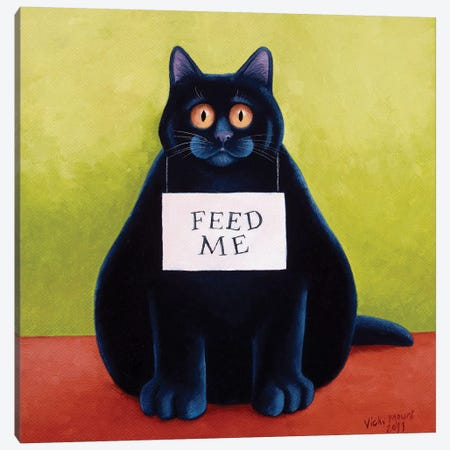 Fat Cat Canvas Print #VMN49} by Vicky Mount Canvas Wall Art