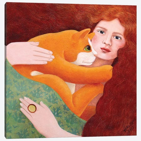Girl With Ginger Cat Canvas Print #VMN57} by Vicky Mount Canvas Artwork