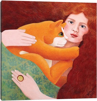 Girl With Ginger Cat Canvas Art Print