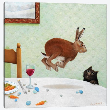 Here Hare Canvas Print #VMN65} by Vicky Mount Art Print