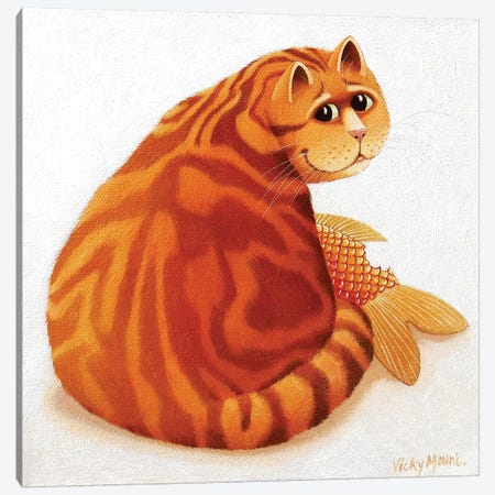 Koi Cat Canvas Print #VMN74} by Vicky Mount Canvas Wall Art