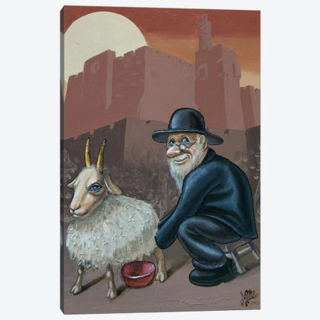 An Old Man With A Goat Canvas Print #VMO3} by Victor Molev Canvas Art