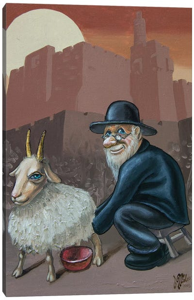 An Old Man With A Goat Canvas Art Print