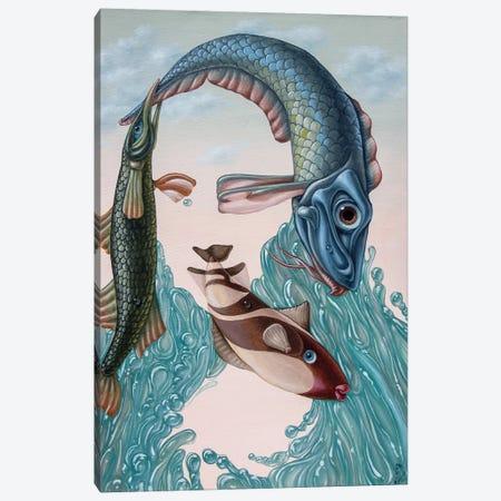 Mona Lisa -Water 3-Piece Canvas #VMO58} by Victor Molev Canvas Art