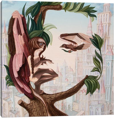 Angel, Watching The Reincarnation Of Marilyn Monroe On The Swinging City Towers Canvas Art Print