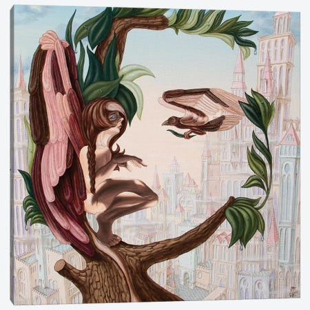 Angel, Watching The Reincarnation Of Marilyn Monroe On The Swinging City Towers Canvas Print #VMO5} by Victor Molev Canvas Art Print