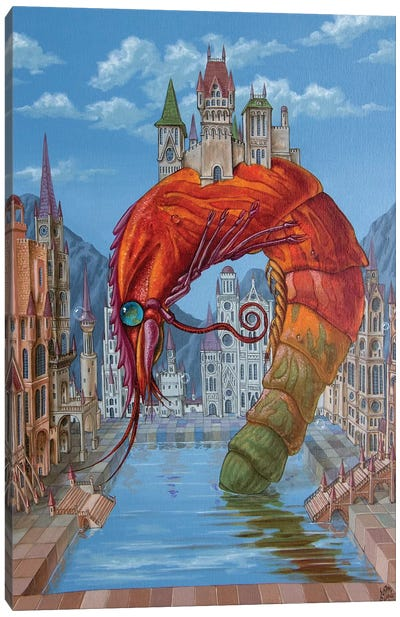 Red Shrimp Canvas Art Print