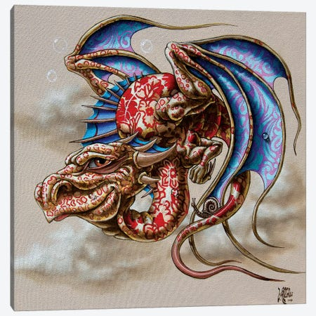 Dragon With A Snail Canvas Print #VMO92} by Victor Molev Canvas Art