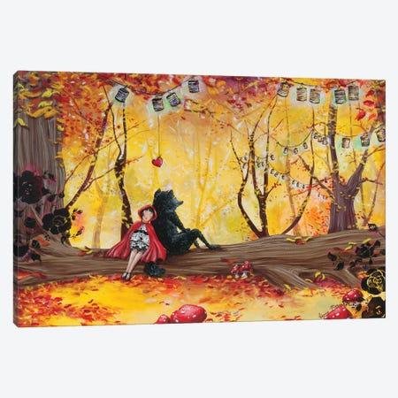 The Romance Of The Red Little Riding Hood Canvas Print #VMZ17} by Virginie Mazureau Canvas Wall Art