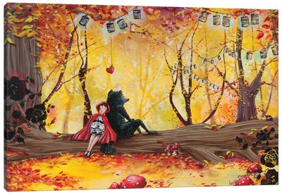 The Romance Of The Red Little Riding Hood Canvas Art Print