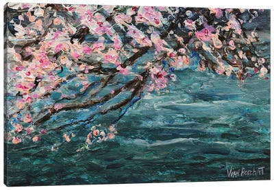 Cherry Blossom Over Water Canvas Art Print