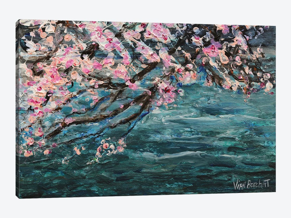 Cherry Blossom Over Water by Vian Borchert 1-piece Canvas Artwork