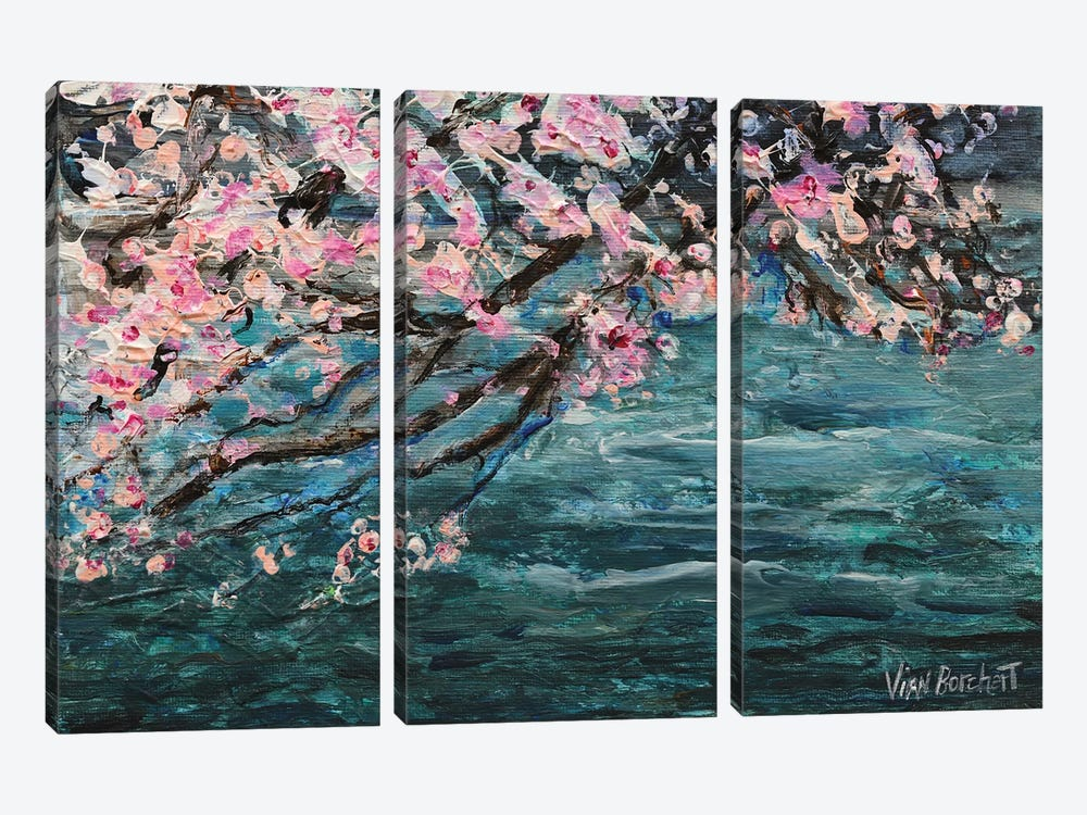 Cherry Blossom Over Water by Vian Borchert 3-piece Canvas Wall Art