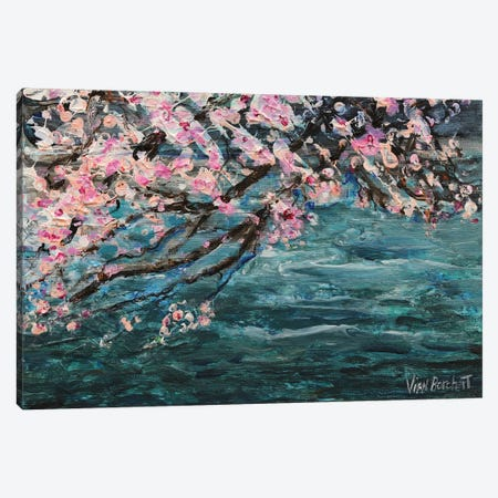 Cherry Blossom Over Water 3-Piece Canvas #VNB14} by Vian Borchert Canvas Wall Art