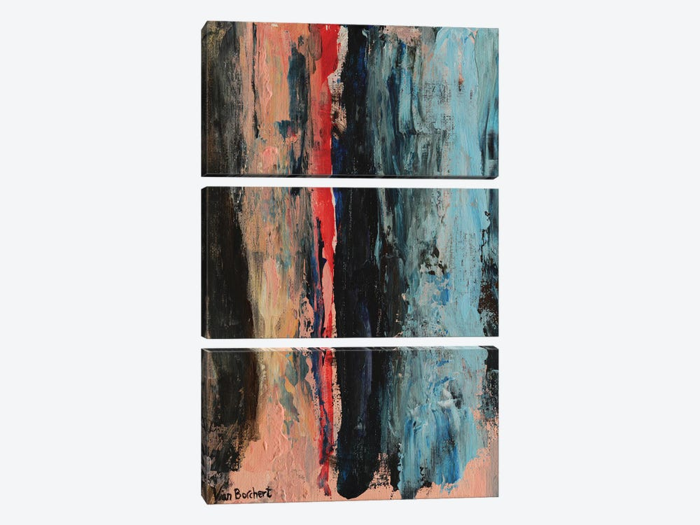 Abstract Red by Vian Borchert 3-piece Canvas Art Print
