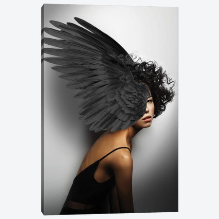 Woman And Wings Black Canvas Print #VNC223} by Alexandre Venancio Canvas Wall Art