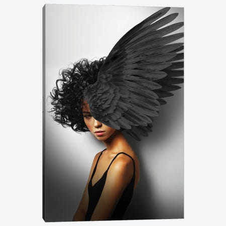 Woman And Wings Black II Canvas Print #VNC224} by Alexandre Venancio Canvas Art Print