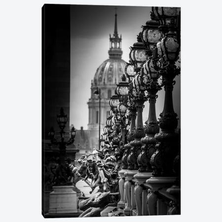 Paris In Black And White Bridge Detail Canvas Print #VNC364} by Alexandre Venancio Canvas Wall Art