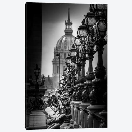 Paris In Black And White Bridge Detail Canvas Print #VNC364} by Alexandre Venancio Canvas Wall Art