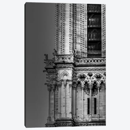 Paris In Black And White Notre-Dame Detail Canvas Print #VNC365} by Alexandre Venancio Canvas Wall Art
