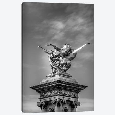 Paris In Black And White Sculpture Detail II Canvas Print #VNC369} by Alexandre Venancio Art Print