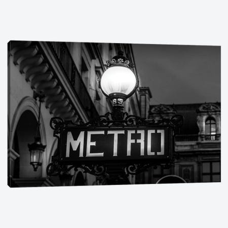Paris In Black And White Metro Canvas Print #VNC371} by Alexandre Venancio Canvas Artwork