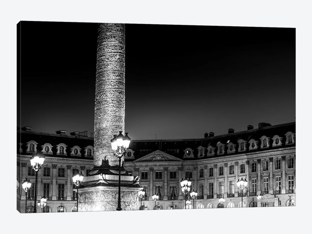 Paris In Black And White Place Vendome 1-piece Canvas Wall Art