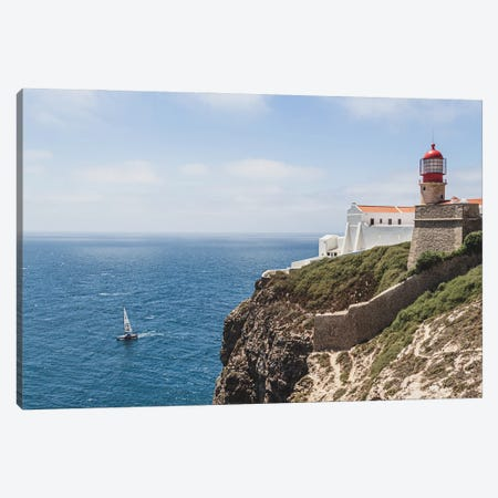 Portugal Lighthouse And The Boat Canvas Print #VNC412} by Alexandre Venancio Canvas Art Print