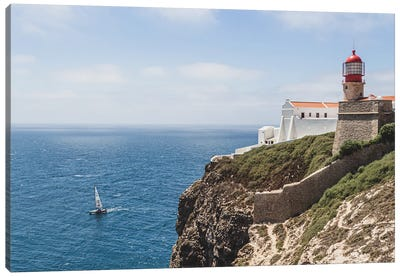Portugal Lighthouse And The Boat Canvas Art Print