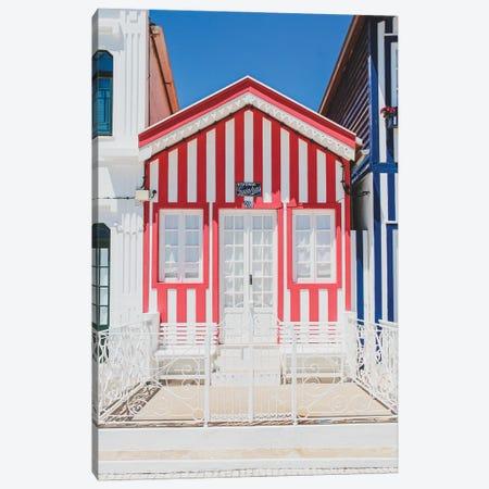 Portugal Costa Nova Red And White Canvas Print #VNC480} by Alexandre Venancio Canvas Wall Art