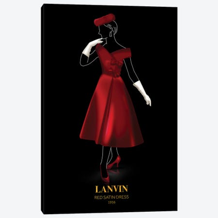 Red Satin Dress, Lanvin, 1956 Canvas Print #VNC53} by Alexandre Venancio Canvas Artwork