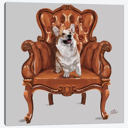 Corgi Chair Canvas Print #VNE29} by Vicki Newton Canvas Print