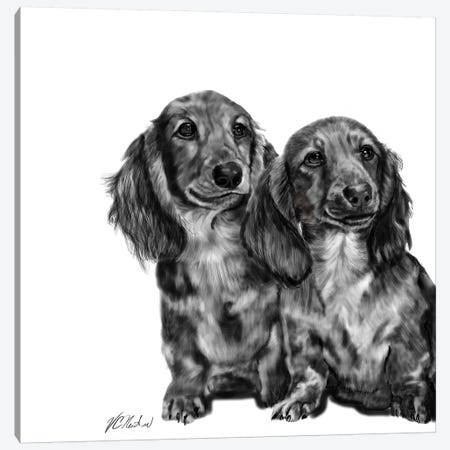 Dachshund Pair In Black & White Canvas Print #VNE30} by Vicki Newton Canvas Artwork