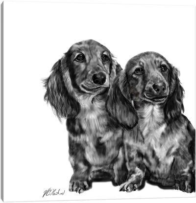 Dachshund Pair In Black & White Canvas Art Print