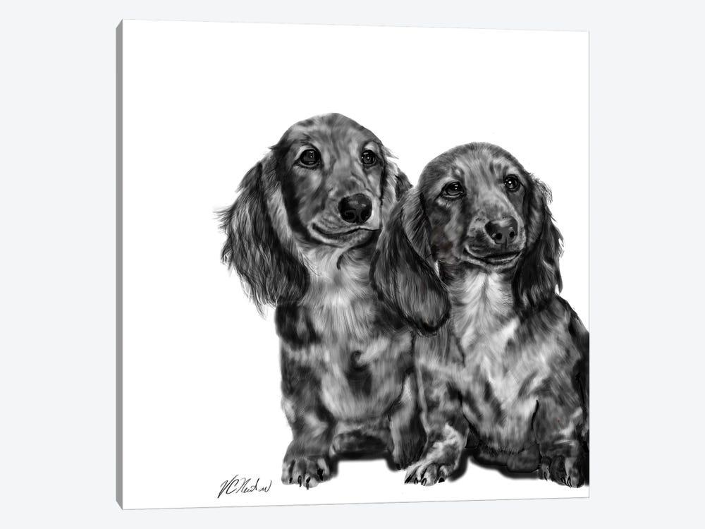 Dachshund Pair In Black & White by Vicki Newton 1-piece Art Print