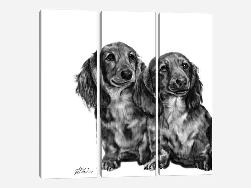 Dachshund Pair In Black & White by Vicki Newton 3-piece Art Print